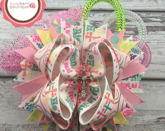 SALE**He is Risen Over the Top Bow, Over the top Hair Bow, Easter Over the top Bow, OTT