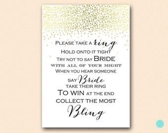 Gold Bridal Shower Games, Dont Say Bride Game, Don't Say Game, Put a Ring on it Game, Bridal Shower Game, Shower Games Download BS472B dd