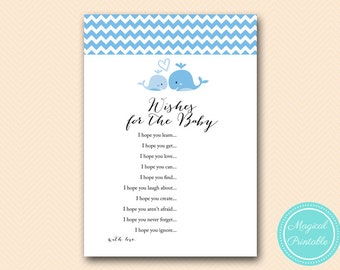 Wishes for baby Boy, Wishes for baby cards, Blue Whale Baby Shower Games Printable, Baby Shower Activities, Instant Download TLC118