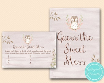 Guess the Sweet Mess, Dirty Diaper, Chocolate Bar Game, Owl Baby Shower Game, Woodland Baby Shower, Owl Baby Shower TLC401 MB