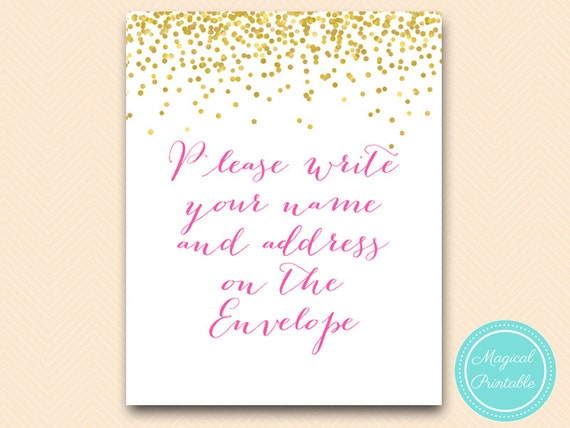 Please Write Your Name And Address On The Envelope Signage