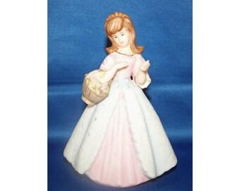 Vintage Ardalt Lenwile China Girl with Basket Figurine Verithin Pomander Air Freshener made in Japan Knick Knack Porcelain Ceramic Figure