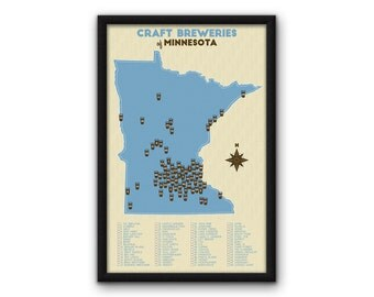 """Minnesota Craft Breweries Map - Blue (11x17"""")"""