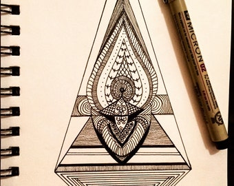 Abstract Ink Drawing - Geometric Illustration