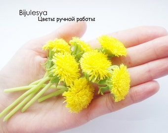 Flowers handmade from polymer clay.Yellow dandelions of cold porcelain.1 dandelion flower.polymer clay