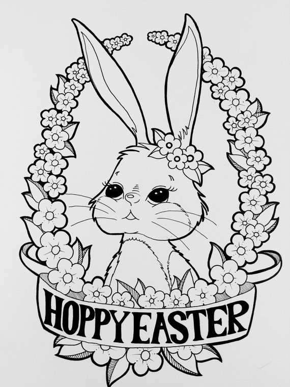 happybunny coloring pages | Digital Coloring Page Happy Easter Bunny Coloring Page