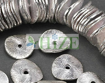 HIZE BB151 925 Bali Sterling Silver Wavy Disc Chip Spacer Beads 8mm (32)