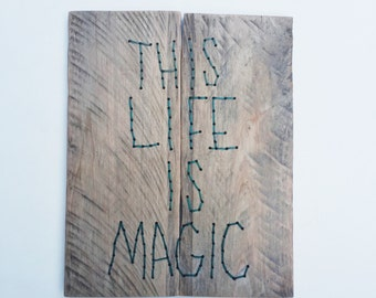 Embroidery, Wood Wall Art, Quote Sign