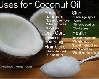 Extra Virgin Organic Coconut Oil Non-GMO, Vegan ,Gluten Free 4oz Jar
