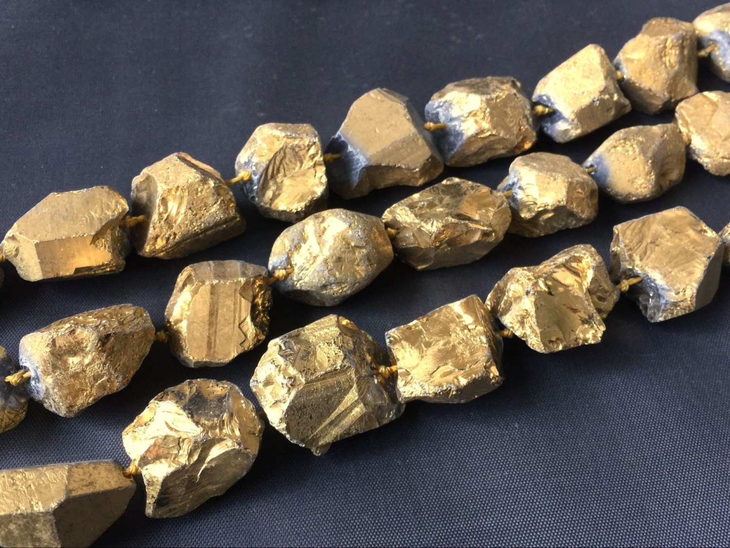 Raw Gold Quartz Nugget Beads Titanium Metallic Quartz Stone