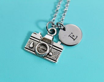 Camera Pendant Charm Necklace Photographer Necklace Film Camera Necklace Long Necklace Personalized Initial Necklace Monogram Custom Jewelry