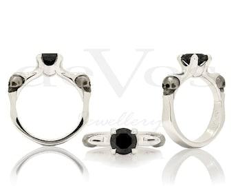 Skull Ring - Till Death, Black Diamond Skull Solitare