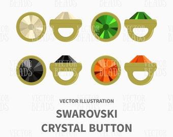 Crystaletts, Swarovski Crystal Buttons Vector Illustration - ai, eps, png, jpg
