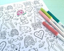 Printable LOVE CRITTERS Valentine's Day Coloring Page- Digital File- Instant Download fawn, elephant, hearts, turtle, butterfly