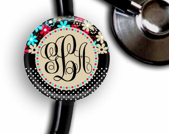 Flower & Polka Monogram Personalized Stethoscope ID Tag