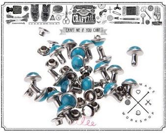 20PCS 8MM Blue Turquoise Rivet Studs Buttons Leathercraft. 120/50