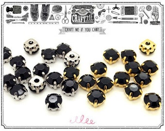 100Pcs 10mm Sew On BLACK Rhinestones comes in a gold silver colored prong setting.