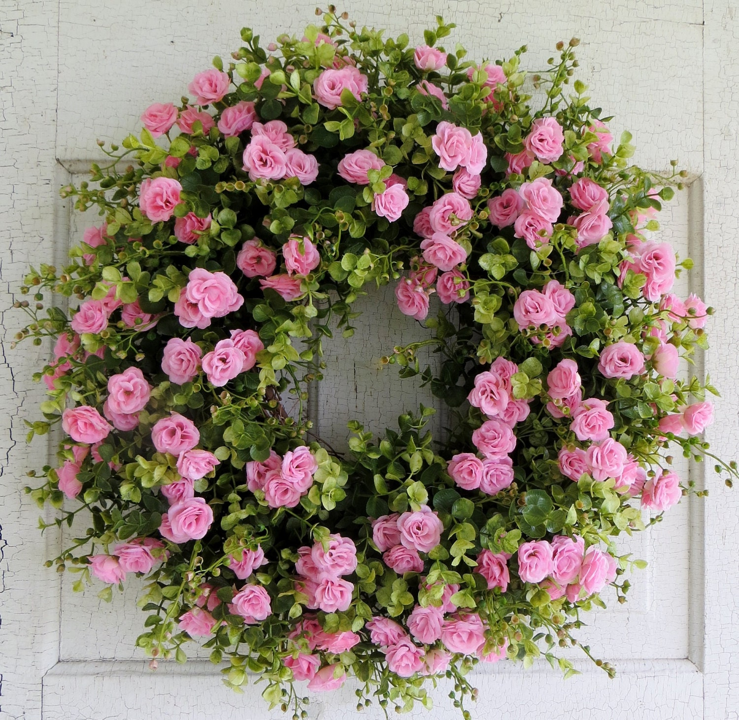 Pink Rose Wreath Summer Door Wreath Front Door Wreath