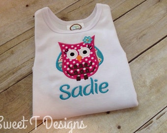 Owl shirt girls - owl bodysuit - Girls owl outfit - Owl Birthday shirt - Personalized girls shirt - Custom girls outfit - Girly owl
