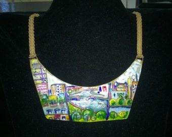 Miye Matsukata enamel, 18K gold, Gorget necklace