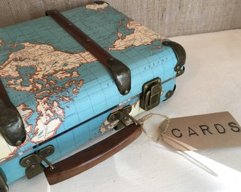 Vintage Map Cards Suitcase
