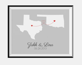 Personalized Two States Love -  Downloadable Digital Print