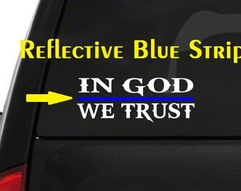 In God We Trust (M50) Thin Blue Line Cop Police Vinyl Decal Sticker Car Window