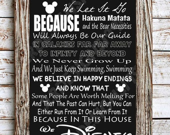 In This House We Do Disney Poster DIGITAL DOWNLOAD
