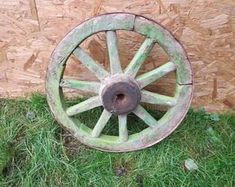 Antique Primitive Architectural Wooden Spoke wagon wheel goat Horse cart G