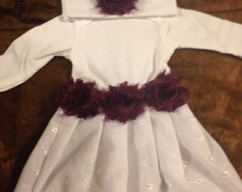 Shabby Chic Burgendy  Baby Gown