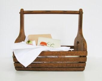 Wooden Basket, Oak Magazine Holder, Bathroom Accessories, Cottage Chic Home Decor