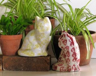 Cat Sculpture Spongewear Pottery Cat Figure Bybee Pottery Kitty