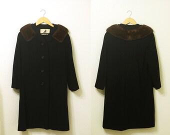 1960s - Vintage Black Wool Rothmoor Mink Collar Heavy Coat Union Made