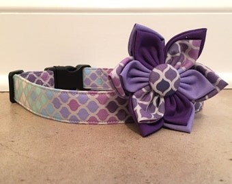 Dog Collar, purple dog collar, pretty dog collar, mermaid dog collar, summer dog collar, shimmer dog collar, dog collar flower, dog flower