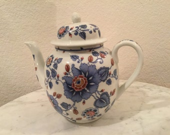 Vintage Estée Lauder From The Garden Collection Beautiful Fine Porcelain Teapot With Blue, Pink Flowers. From 1979.