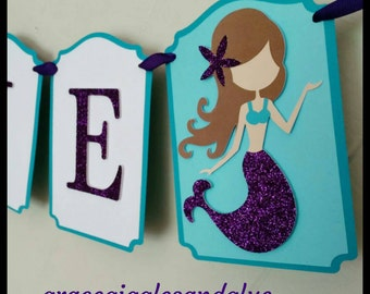 Gitter Mermaid Name Banner, Mermaid Name Banner, Mermaid Babyshower Banner