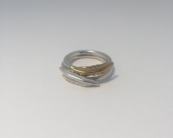 Silver OR Gold Feather Ring.  Stackable.