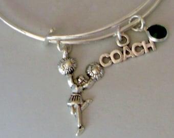 CHEERLEADER Coach Bangle  -w/ Birthstone Adjustable Bangle / Gift For Her / Under Twenty /  SC1