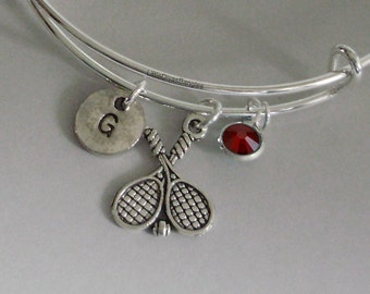 TENNIS Racket Bangle Bracelet  W/ A Birthstone - Initial  Under Twenty / Sports Team Gift  Usa  T1