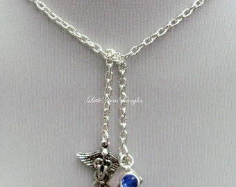 Veterinarian / Grad Cap LARIAT Chain Necklace W/ Swarovski Birthstone   /  Boho Necklace  / Y STYLE /  Gift For Her / Under 20 Usa  Nk1