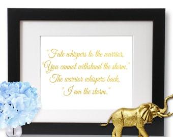 I am the Storm Gold Foil Print, Love Art Print
