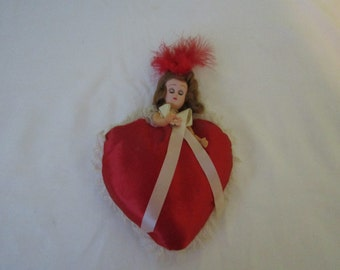 Vintage Half Doll Red Satin Heart w/Lace Pin Cushion Valentine's Day