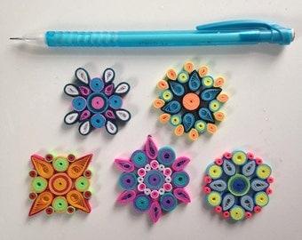 Handmade, (5) Quilled Paper Mandala Magnets