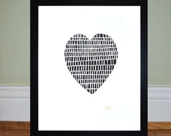 Black Heart - Framed Lino Print - Limited Edition