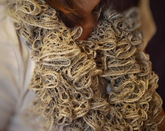 Silver Lining Ruffle Crochet Scarf - Unique Handmade Fashion Accessories