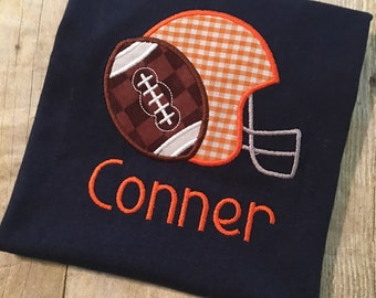 football and helmet applique shirt! Personalized with your name and team colors!