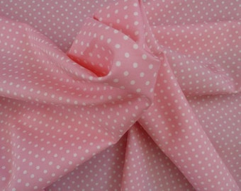 Pink Polka Dot  Fabric - 100% Cotton Poplin.  For Quilting, Dressmaking, Soft Furnishings, Crafts etc.