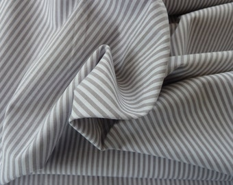 Grey & White Stripe Fabric - 100% Cotton Yarn Dyed John Louden Fabric. 145 cm (55 inches) Dressmaking - Patchwork - Nursery - Crafts