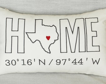 Free Shipping-Home Customized Pillow Cover Embroidered Pillow Case State Pillow Longitude Pillow Coordinates Birthday Housewarming Gift