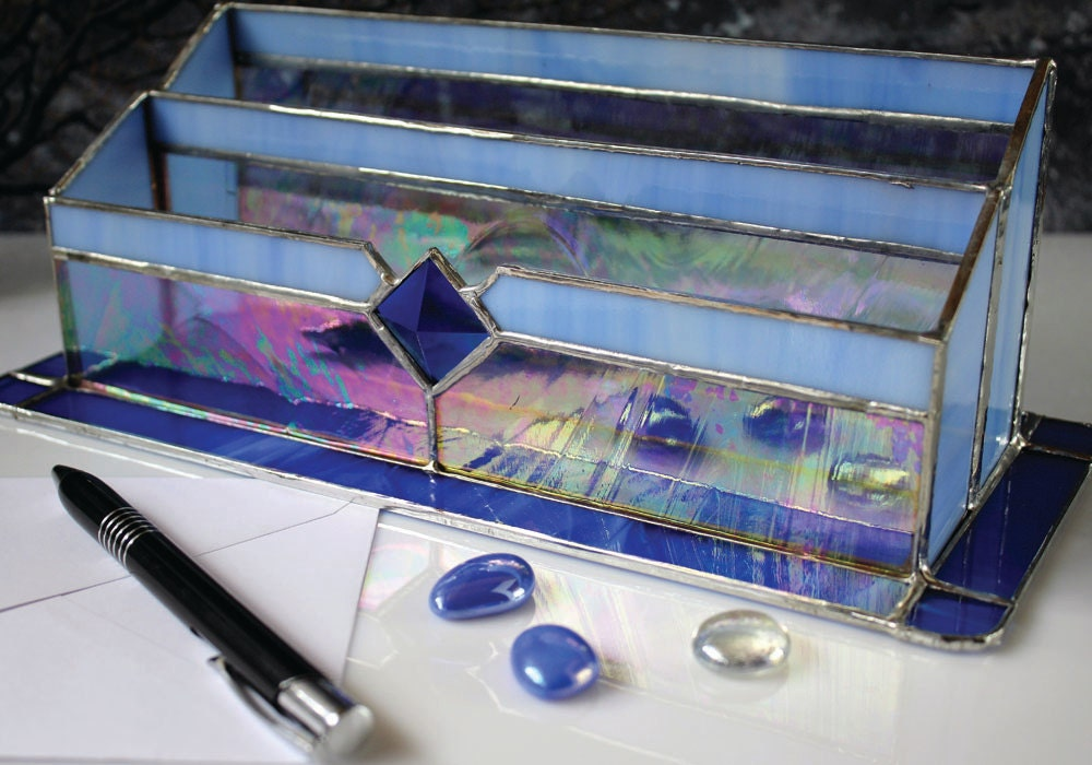 Mail holder blue stained glass desk organizer office by - Glass desk organizer ...